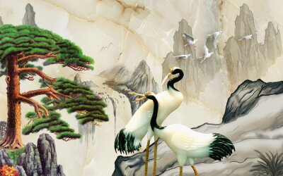 Fotomural Landscape illustration, marble, mountains, a pair of cranes, green pine on a rock