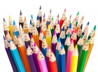 Fotomural Lápis coloridos como rostos sorridentes pessoas isoladas. Rede social