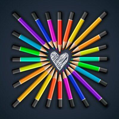 Fotomural Lápis de cor, formato de coração, vetor Eps10 ilustração.