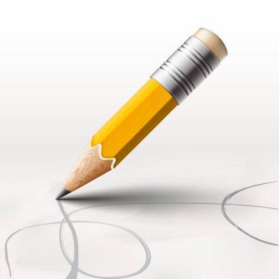 Fotomural Lápis simples no fundo branco, vetor Eps10 ilustração.