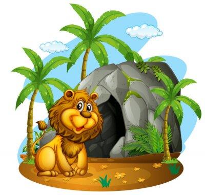 Fotomural Leão senta-se na frente da caverna