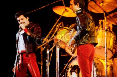 Fotomural LEIDEN, PAÍSES BAIXOS - 27 DE NOVEMBRO DE 1980: Rainha durante um concerto no Groenoordhallen em Leiden, nos Países Baixos
