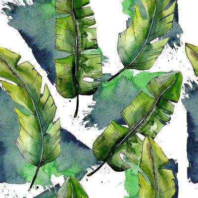 Fotomural Lesves verdes tropicais em um teste padrão do estilo da aguarela. Folha de Aquarelle para plano de fundo, textura, padrão de invólucro, moldura ou borda.