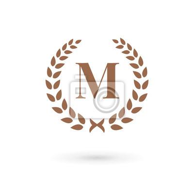 Letra M Louro Icone Logotipo Coroa De Flores Fotomural