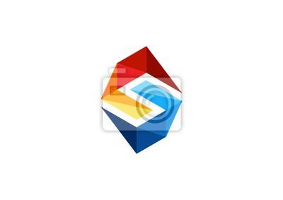 43bd498a508d1 Fotomural Letra S logotipo, projeto geométrico abstrato do vetor do ícone  do símbolo. Elementos
