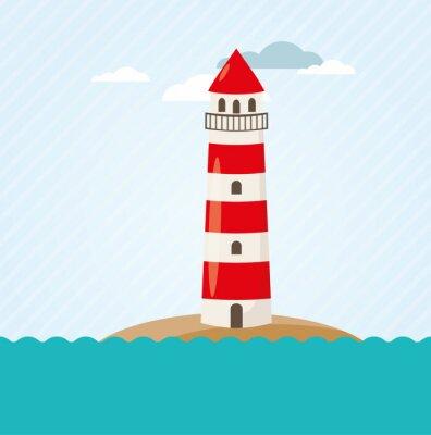 Fotomural Leuchtturm um Küste Vektor