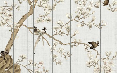 Fotomural Light textured background, white magnolia flowers on a tree and birds