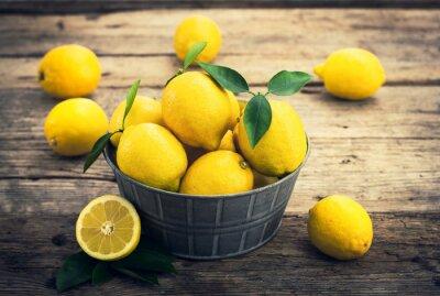 Fotomural Limões frescos no conto rústico