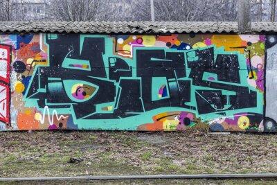 Fotomural Linda grafite arte de rua. Desenho abstrato criativo de moda