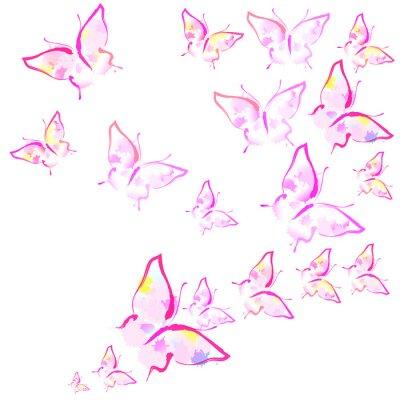 Fotomural lindas borboletas cor de rosa, isoladas em um branco
