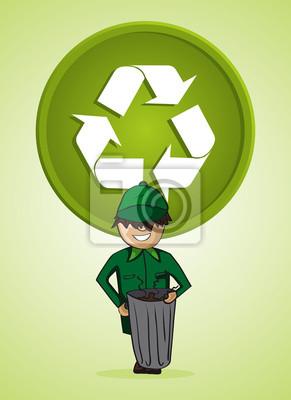Lixo Servico Homem Coletor Simbolo De Reciclagem De Desenho Animado