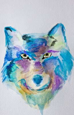 Fotomural Lobo da pintura da aguarela no fundo branco do álbum. Técnica molhada. Máscaras roxas azuis. Arte Moderna. Lazer.