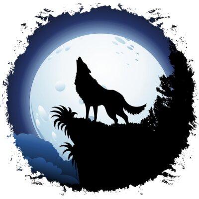 Fotomural Lobo que urra na lua azul no Quadro Grunge