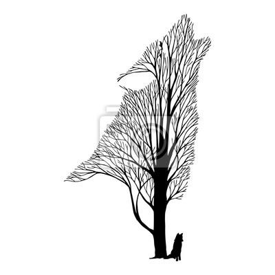 Lobo Uivo Mistura árvore Desenho Vector Tatuagem Fotomural