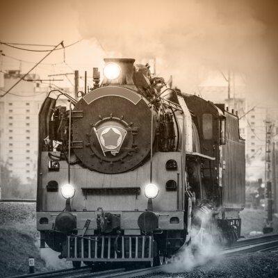 Fotomural Locomotiva de vapor russian retro velha.