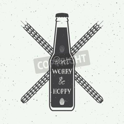 Fotomural Logotipo da cerveja do vintage do vetor com citações da motivação do divertimento da rotulação da mão