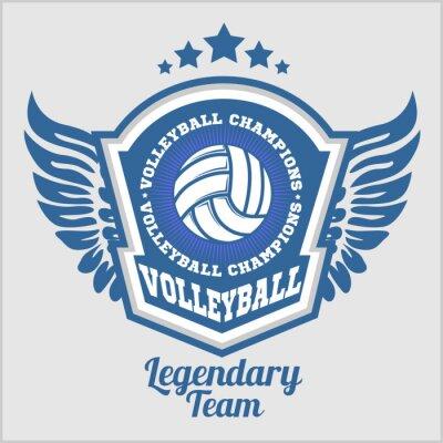 Fotomural Logotipo do campeonato do voleibol com esfera. Emblema do esporte do vetor para o competiam ou o campeonato