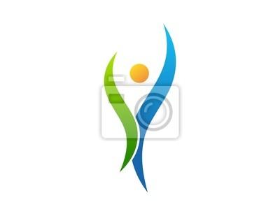 250102ffb52b1 Fotomural logotipo, pessoas, saúde, natureza, plantas, abstrato símbolo  vida ícone