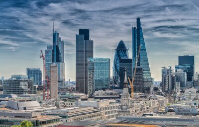 Fotomural London City. Skyline moderna da área de negócios