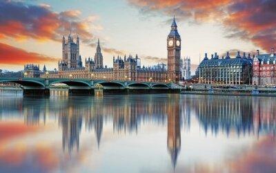Fotomural Londres - Big Ben e Houses of Parliament, Reino Unido