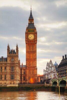 Fotomural Londres com a Torre do Relógio e Houses of Parliament