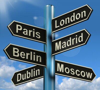 Fotomural Londres Paris Madrid Berlim Orientação Mostrando Europa Viagens Touris