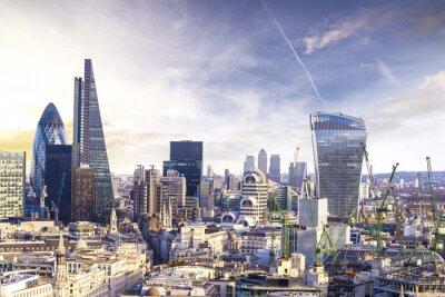 Fotomural Londres pôr do sol, vista no moderno bairro empresarial