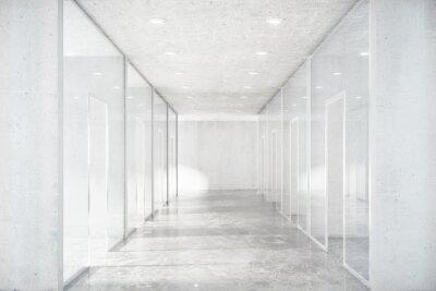 Fotomural Longo, corredor, concreto, chão, transparente, paredes, moder