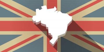 Fotomural Longo, sombra, Reino Unido, bandeira, ícone, mapa ...
