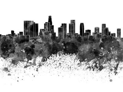 Fotomural Los Angeles skyline na aguarela preta sobre fundo branco