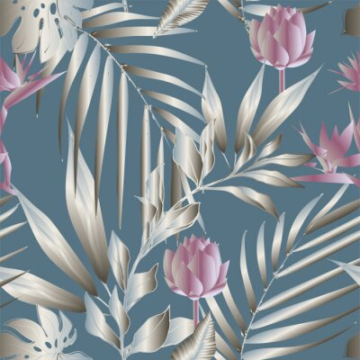 Fotomural Lotus flowers surrounded by palm leaves seamless pattern. Vector illustration with tropical plants.