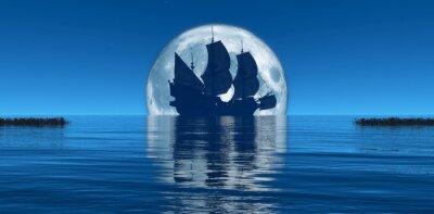 Fotomural Lua e veleiro