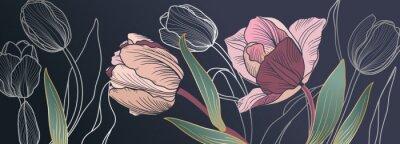Fotomural Luxury pink tulips background vector with golden metallic decorate wall art