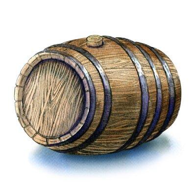 Fotomural Madeira, barril, barril, isolado, watercolour, Ilustração, branca, fundo