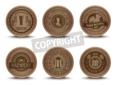 Fotomural Madeira, cerveja, casa, emblemas, estilo retro, bebida, gotejamento, esteiras, coasters, ícones, cobrança, impressão, abstratos, isolado, vetorial, Ilustração