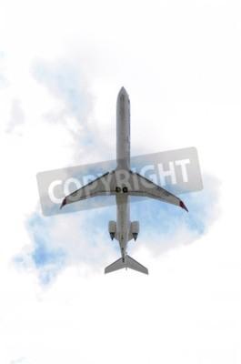 Fotomural MADRID, ESPANHA - 14 de junho de 2015: Aviões Canadair CRJ--Bombardier 900 a, da companhia aérea -Air Nostrum-, está decolando do aeroporto de Madrid-Barajas -Adolfo Suarez-, em 14 de junho de 2015.
