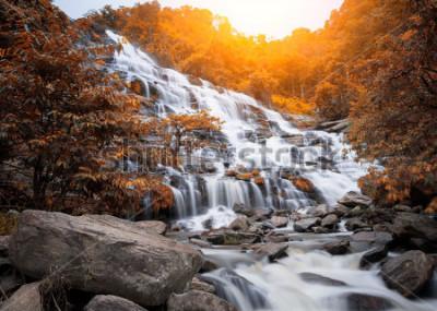 Fotomural Mae Yah Cachoeira, bela cachoeira no outono floresta, província de Chiang Mai, Tailândia