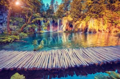 Fotomural Majestoso, vista, turquesa, água, ensolarado, vigas, Plitvice, lagos, nacional ...
