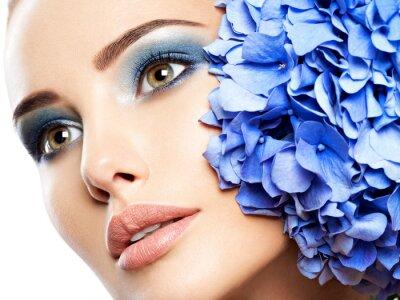 Fotomural Makeup Face Flower Blue Woman Fashion
