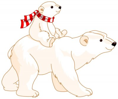 Fotomural Mamã e bebê do urso polar