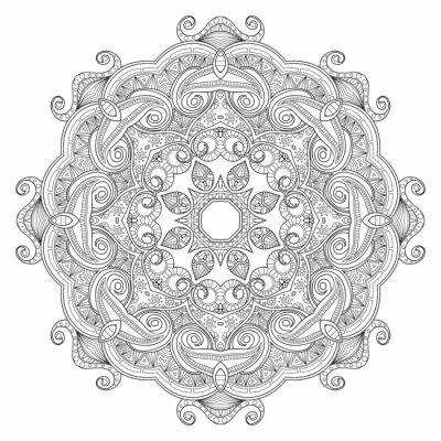 Fotomural Mandala étnica circular abstrata preto e branco do teste padrão.