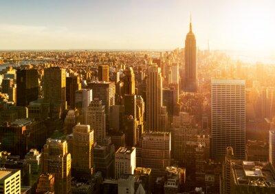 Fotomural Manhattan Skyline bei Sonnenuntergang in New York