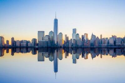Fotomural Manhattan Skyline com Aquele edifício World Trade Center em tw