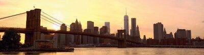Fotomural Manhattan, Skyline, panorama, Brooklyn, ponte, pôr do sol, Novo, York, Estados Unidos