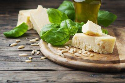 Fotomural Manjericão, queijo, pinho, azeitona, óleo, madeira, tabela
