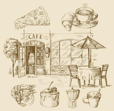 Fotomural mão café desenhado