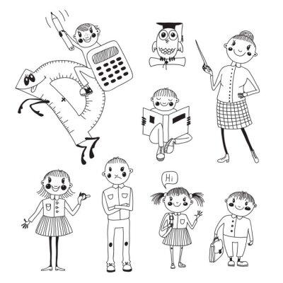 Fotomural Mão de professores e alunos desenhado.