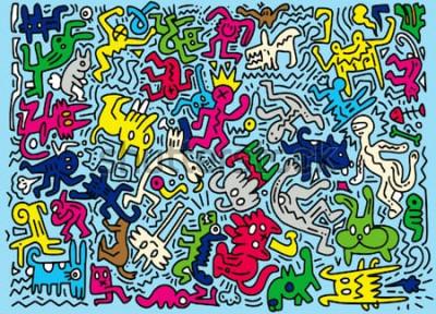Fotomural Mão desenhada Vector Illustration of Doodle animal engraçado, ferramentas de linha de ilustrador, desenho, Design plano