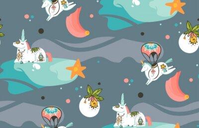 Fotomural Mão desenhada vetor abstrato gráfico ilustrações criativas dos desenhos animados padrão sem emenda com unicórnios de cosmonauta com tatuagem old school, cometas e planetas em cosmos isolado em fundo e