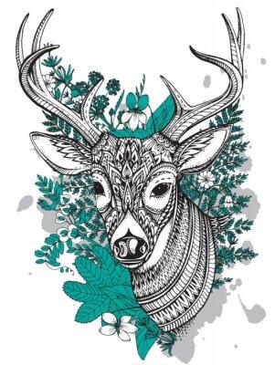 Fotomural Mão, desenhado, vetorial, horned, veado, alto, detalhes, Ornamento